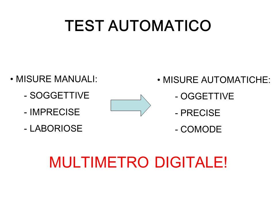 TEST AUTOMATICO MISURE MANUALI: - SOGGETTIVE - IMPRECISE - LABORIOSE MISURE AUTOMATICHE: - OGGETTIVE - PRECISE - COMODE MULTIMETRO DIGITALE!