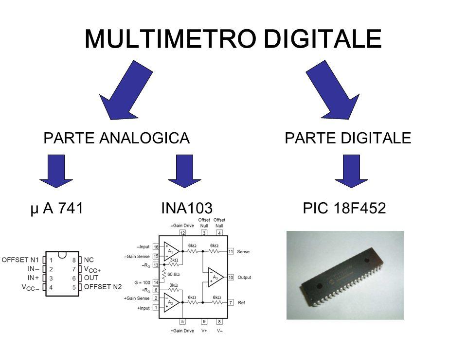 MULTIMETRO DIGITALE PARTE ANALOGICAPARTE DIGITALE μ A 741PIC 18F452INA103