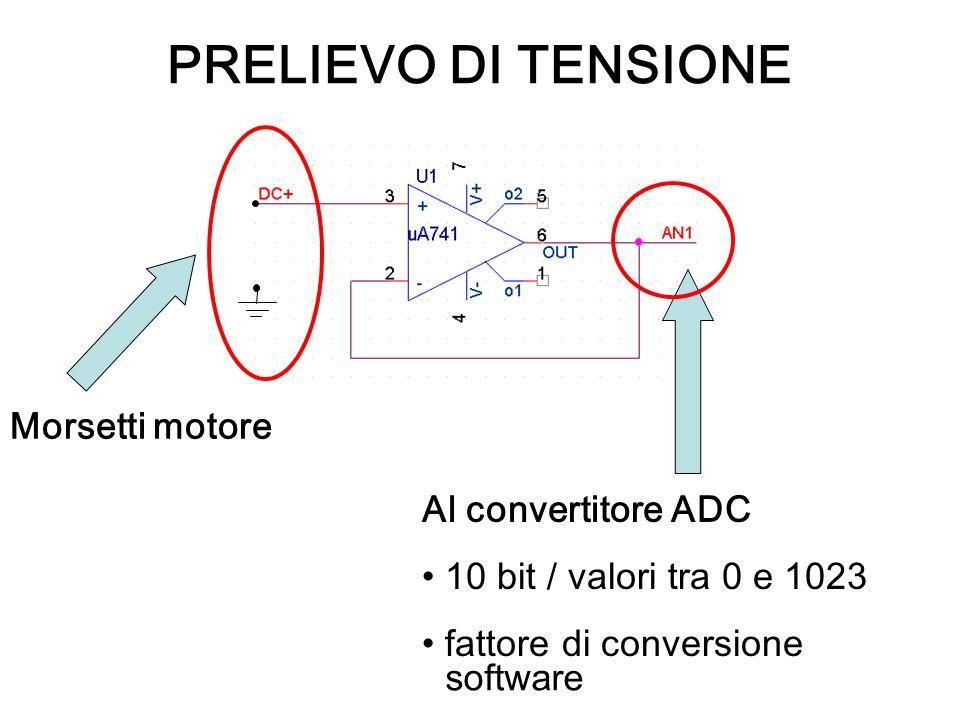 PRELIEVO DI TENSIONE Morsetti motore Al convertitore ADC 10 bit / valori tra 0 e 1023 fattore di conversione software