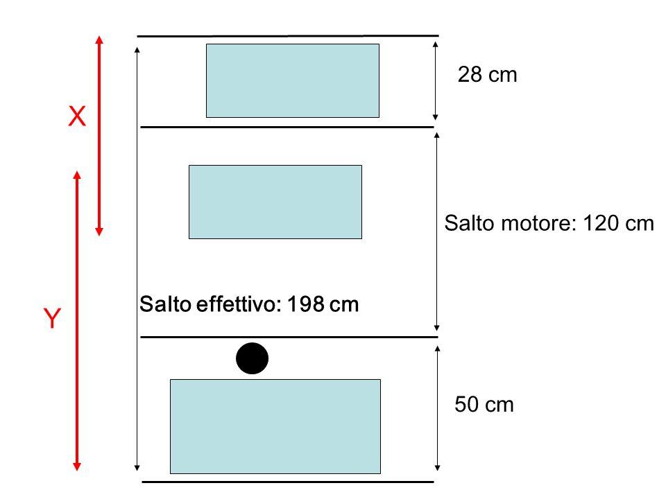 Salto motore: 120 cm Salto effettivo: 198 cm 50 cm 28 cm X Y