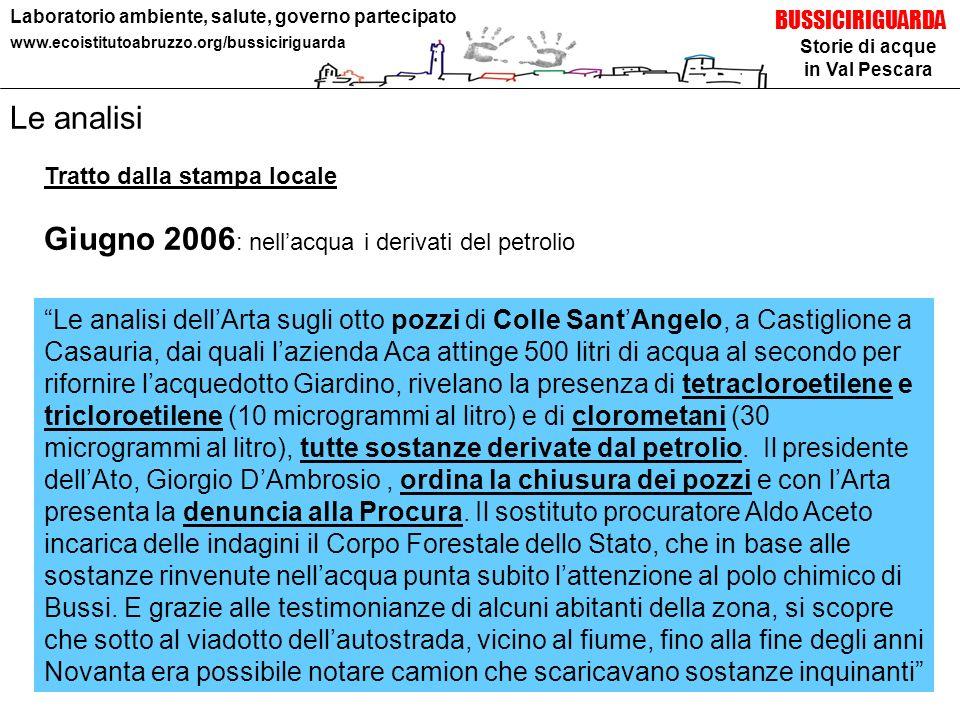 Storie di acque in Val Pescara BUSSICIRIGUARDA Laboratorio ambiente, salute, governo partecipato www.ecoistitutoabruzzo.org/bussiciriguarda Le analisi