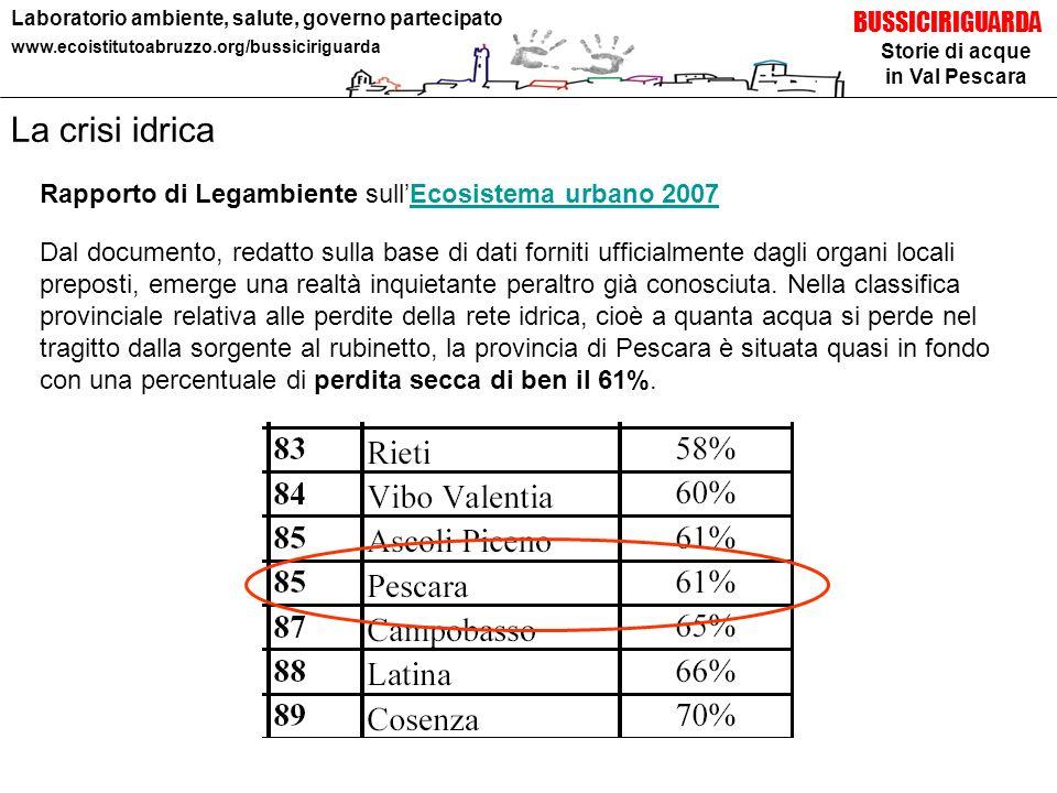 Storie di acque in Val Pescara BUSSICIRIGUARDA Laboratorio ambiente, salute, governo partecipato www.ecoistitutoabruzzo.org/bussiciriguarda Dal docume