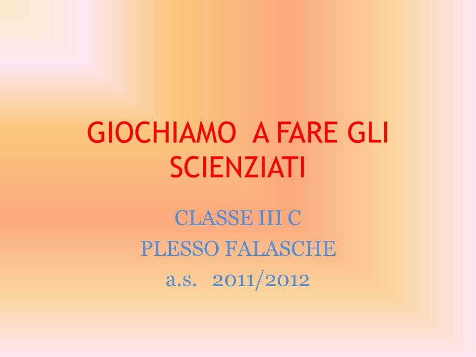 GIOCHIAMO A FARE GLI SCIENZIATI CLASSE III C PLESSO FALASCHE a.s. 2011/2012