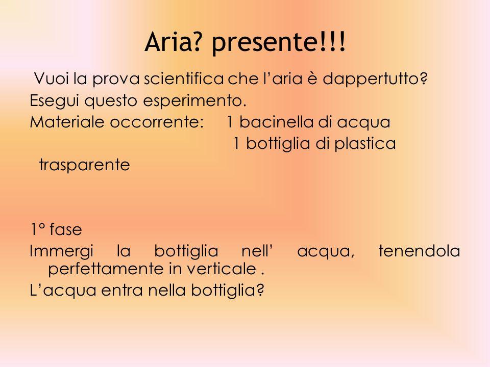 Aria.presente!!. Vuoi la prova scientifica che laria è dappertutto.