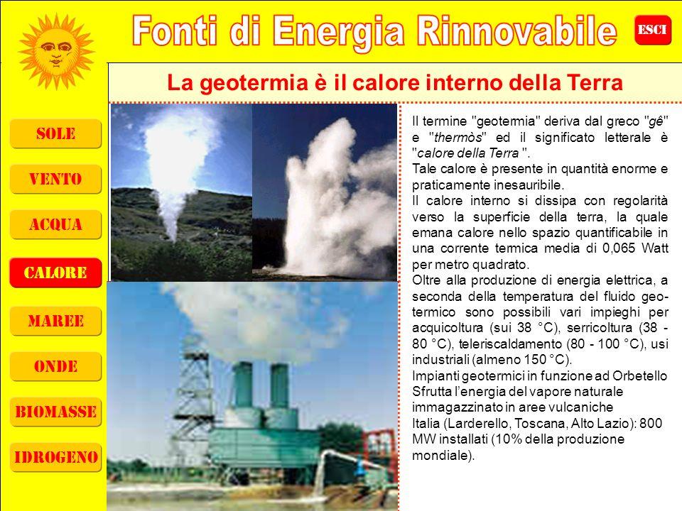 ESCI sole vento acqua calore maree onde biomasse idrogeno La geotermia è il calore interno della Terra Il termine