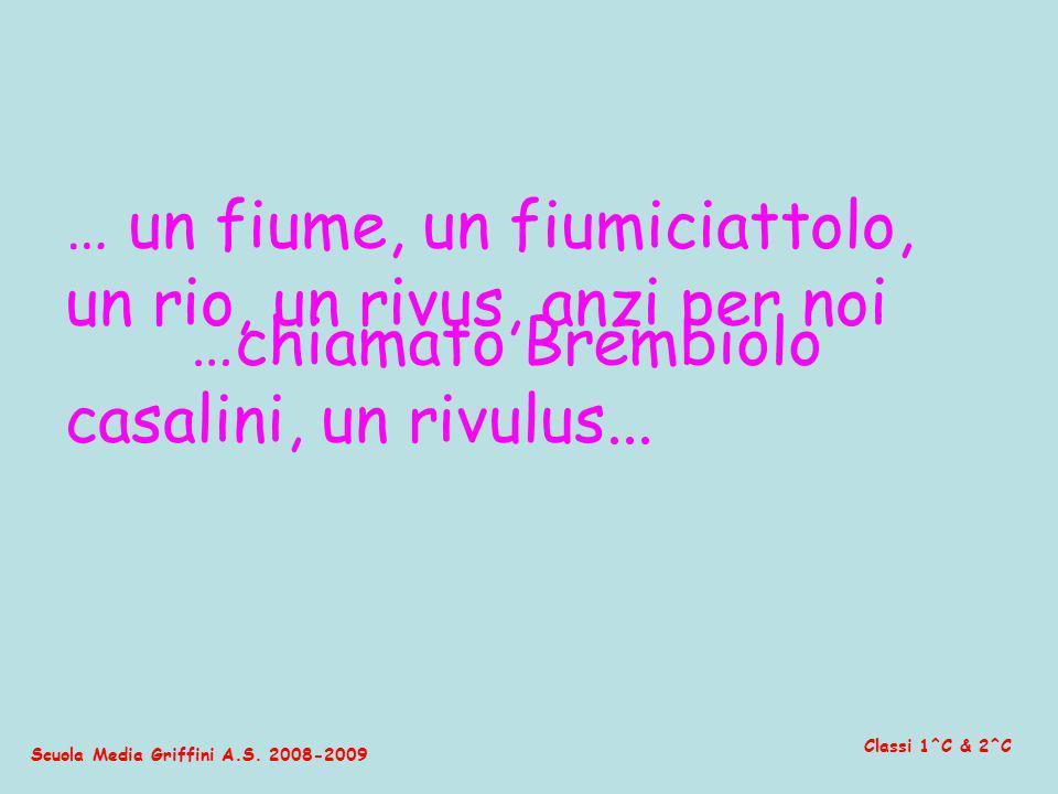 Scuola Media Griffini A.S. 2008-2009 Classi 1^C & 2^C … un fiume, un fiumiciattolo, un rio, un rivus, anzi per noi casalini, un rivulus... …chiamato B