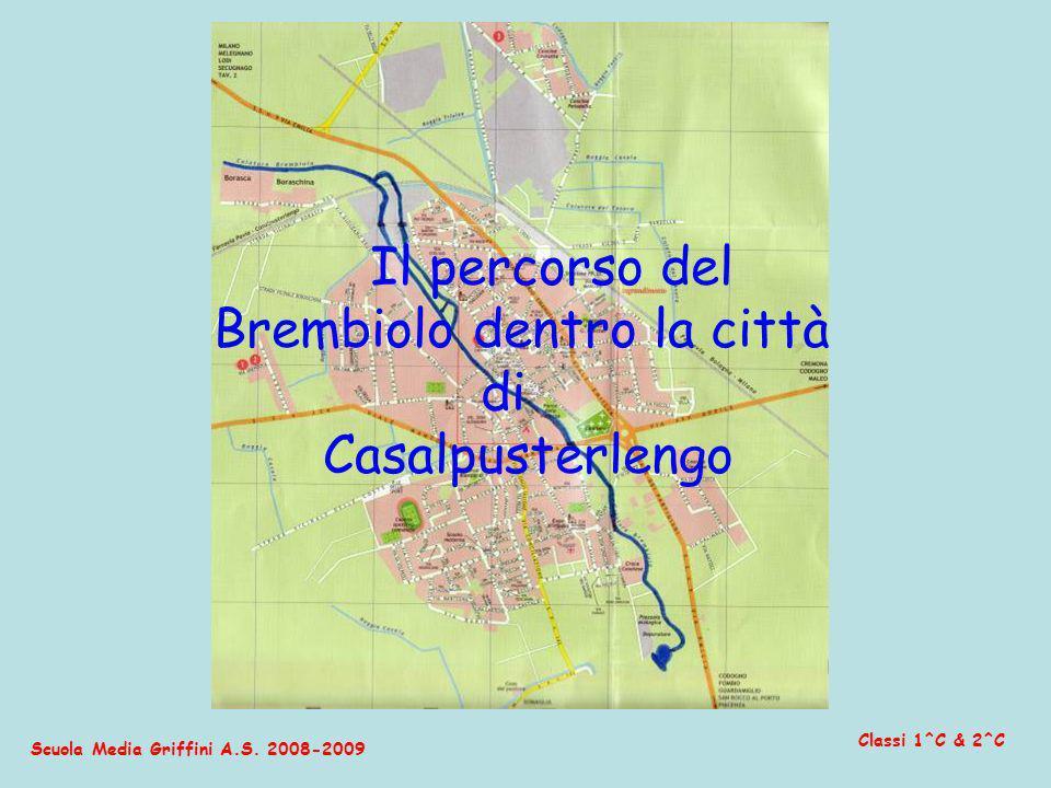 Scuola Media Griffini A.S. 2008-2009 Classi 1^C & 2^C Il percorso del Brembiolo dentro la città di Casalpusterlengo