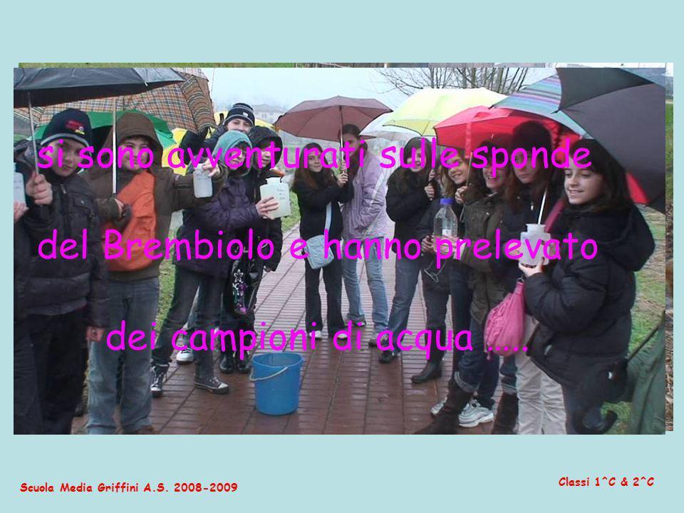 Scuola Media Griffini A.S. 2008-2009 Classi 1^C & 2^C si sono avventurati sulle sponde del Brembiolo e hanno prelevato dei campioni di acqua …..