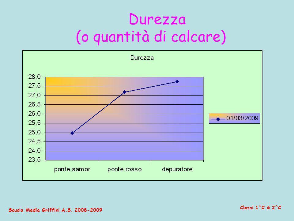 Scuola Media Griffini A.S. 2008-2009 Classi 1^C & 2^C Durezza (o quantità di calcare)