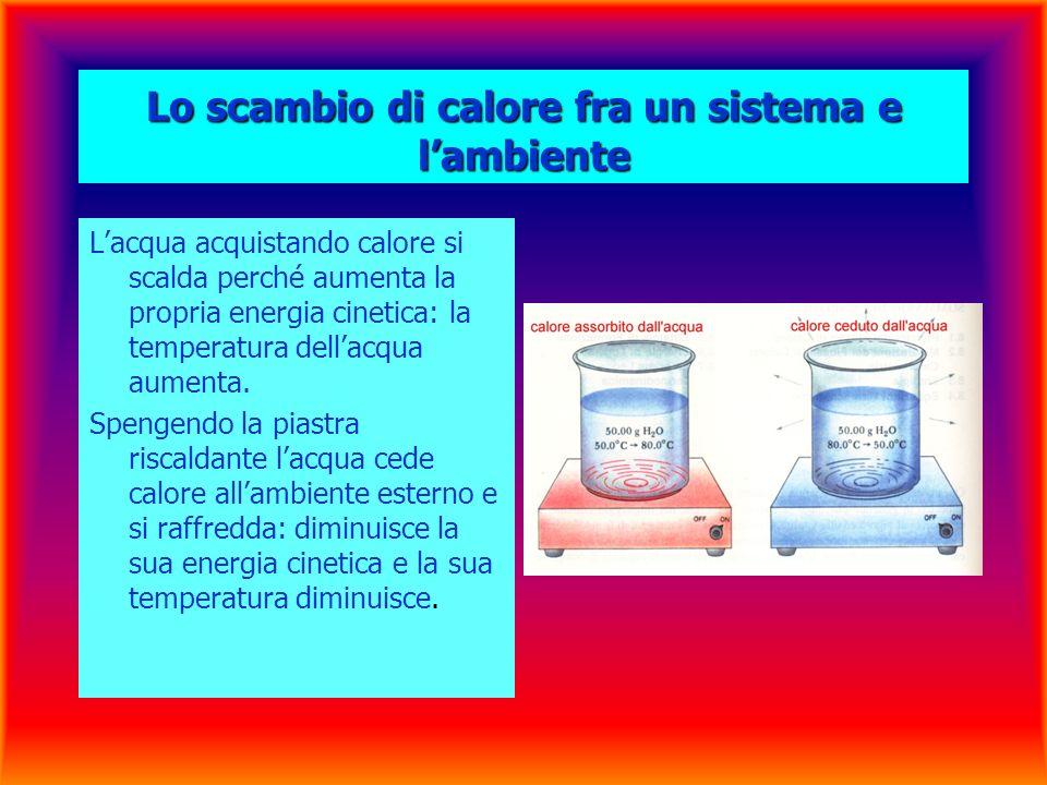 Lo scambio di calore fra un sistema e lambiente Lacqua acquistando calore si scalda perché aumenta la propria energia cinetica: la temperatura dellacqua aumenta.