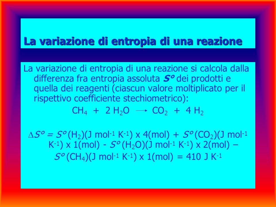 La variazione di entropia di una reazione La variazione di entropia di una reazione si calcola dalla differenza fra entropia assoluta S° dei prodotti e quella dei reagenti (ciascun valore moltiplicato per il rispettivo coefficiente stechiometrico): CH 4 + 2 H 2 O CO 2 + 4 H 2 S° = S° (H 2 )(J mol -1 K -1 ) x 4(mol) + S° (CO 2 )(J mol -1 K -1 ) x 1(mol) - S° (H 2 O)(J mol -1 K -1 ) x 2(mol) – S° (CH 4 )(J mol -1 K -1 ) x 1(mol) = 410 J K -1