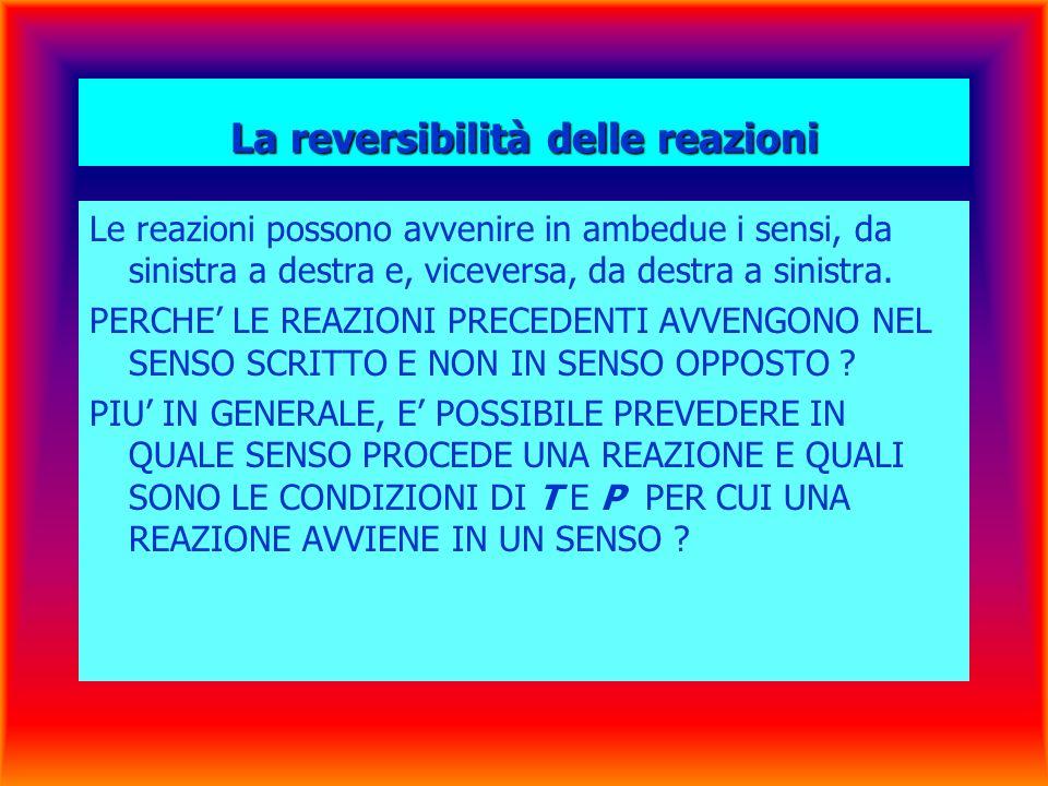 La reversibilità delle reazioni Le reazioni possono avvenire in ambedue i sensi, da sinistra a destra e, viceversa, da destra a sinistra.