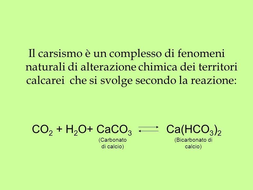 Il carsismo è un complesso di fenomeni naturali di alterazione chimica dei territori calcarei che si svolge secondo la reazione: CO 2 + H 2 O+ CaCO 3