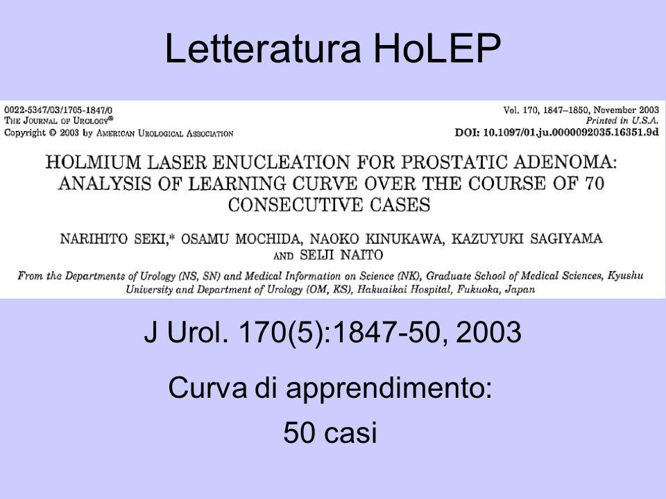 Letteratura HoLEP J Urol. 170(5):1847-50, 2003 Curva di apprendimento: 50 casi