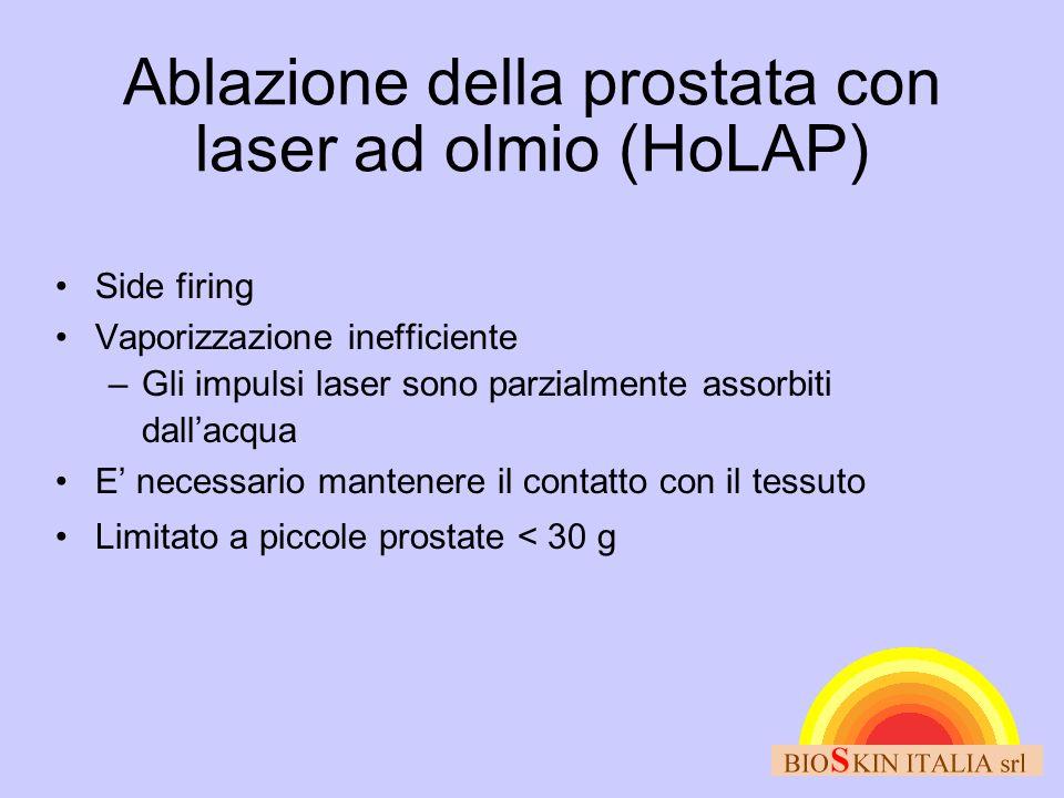 Ablazione della prostata con laser ad olmio (HoLAP) Side firing Vaporizzazione inefficiente –Gli impulsi laser sono parzialmente assorbiti dallacqua E necessario mantenere il contatto con il tessuto Limitato a piccole prostate < 30 g