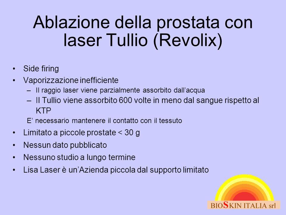 Ablazione della prostata con laser Tullio (Revolix) Side firing Vaporizzazione inefficiente –Il raggio laser viene parzialmente assorbito dallacqua –I