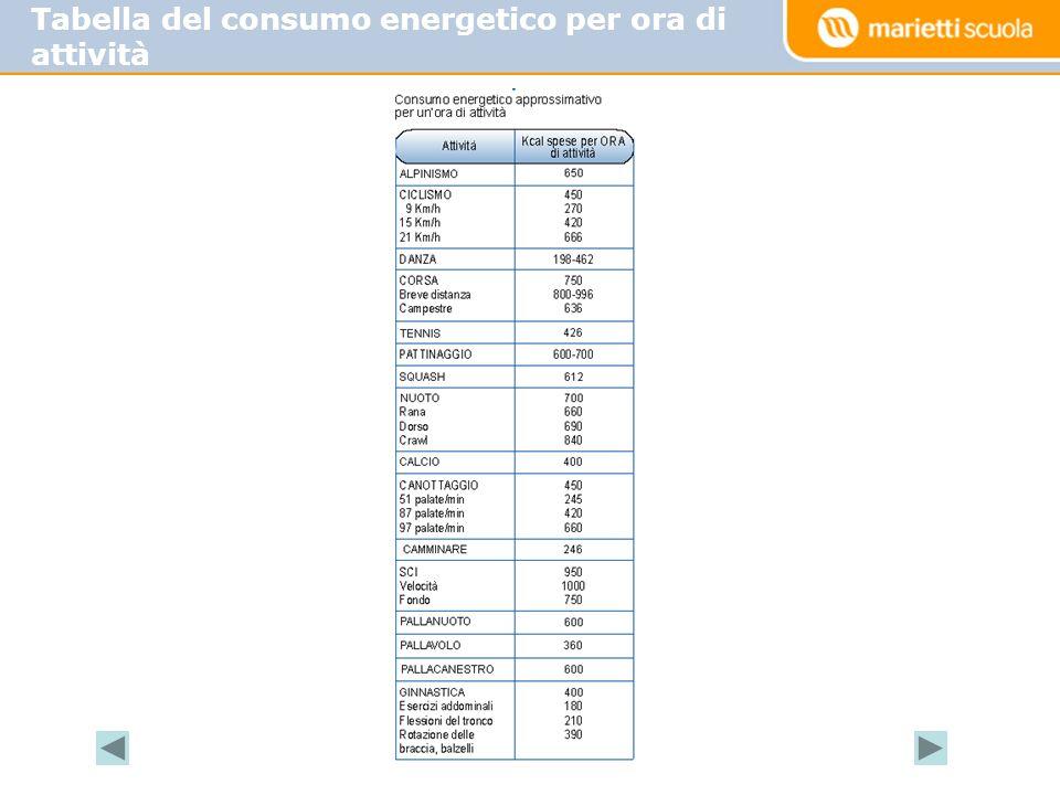 Tabella del consumo energetico per ora di attività