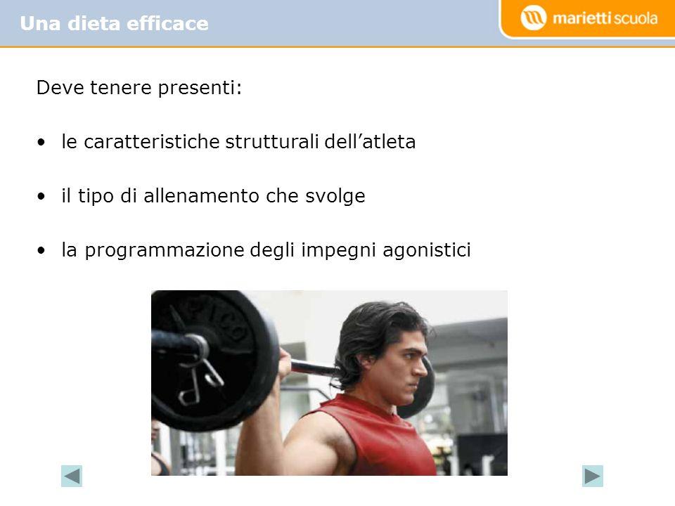 Deve tenere presenti: le caratteristiche strutturali dellatleta il tipo di allenamento che svolge la programmazione degli impegni agonistici Una dieta efficace