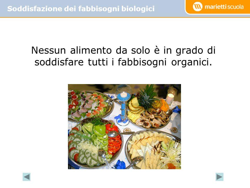 Soddisfazione dei fabbisogni biologici Nessun alimento da solo è in grado di soddisfare tutti i fabbisogni organici.