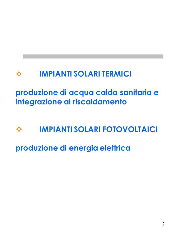 2 IMPIANTI SOLARI TERMICI produzione di acqua calda sanitaria e integrazione al riscaldamento IMPIANTI SOLARI FOTOVOLTAICI produzione di energia elettrica