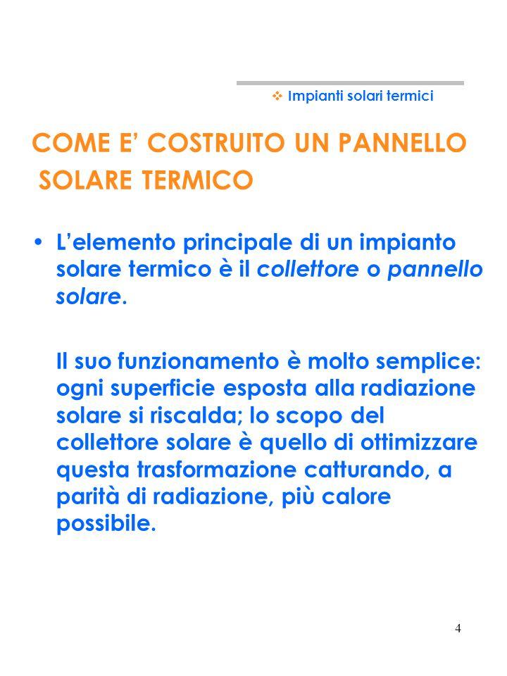 4 COME E COSTRUITO UN PANNELLO SOLARE TERMICO Lelemento principale di un impianto solare termico è il collettore o pannello solare.