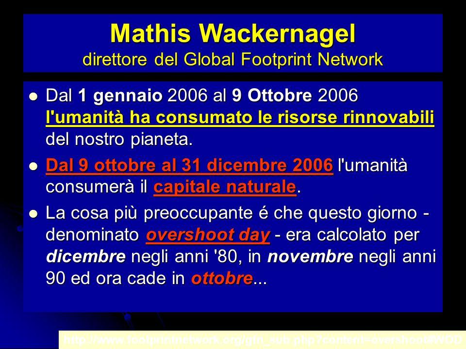 Mathis Wackernagel direttore del Global Footprint Network Dal 1 gennaio 2006 al 9 Ottobre 2006 l umanità ha consumato le risorse rinnovabili del nostro pianeta.