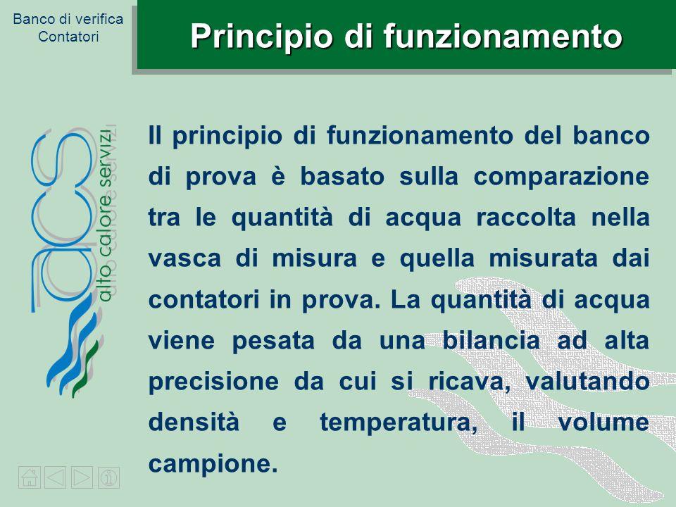Banco di verifica Contatori Principio di funzionamento Il principio di funzionamento del banco di prova è basato sulla comparazione tra le quantità di