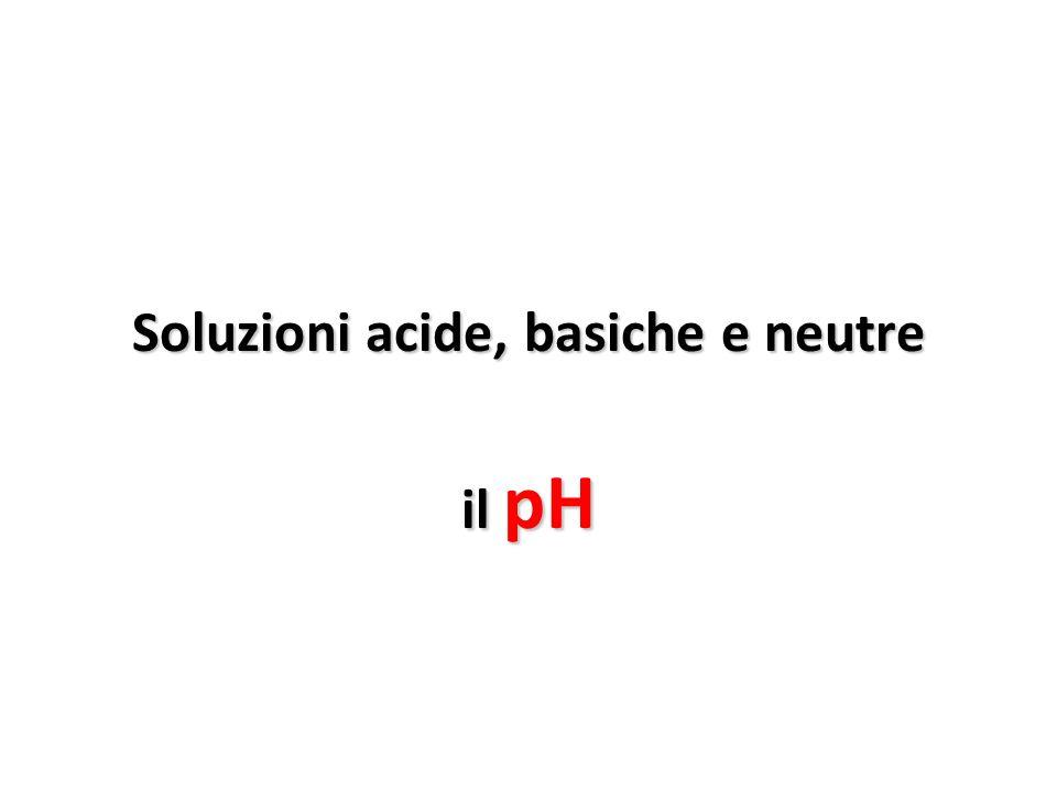 Soluzioni acide, basiche e neutre il pH