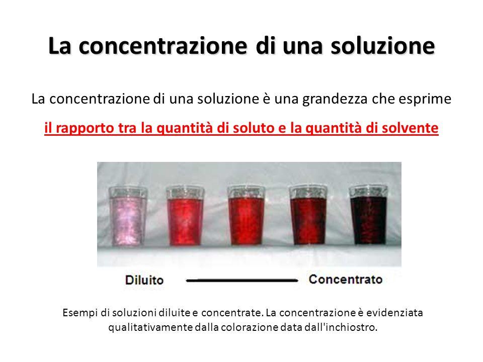 La concentrazione di una soluzione La concentrazione di una soluzione è una grandezza che esprime il rapporto tra la quantità di soluto e la quantità