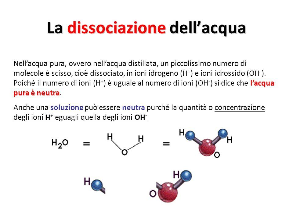 La dissociazione dellacqua lacqua pura è neutra Nellacqua pura, ovvero nellacqua distillata, un piccolissimo numero di molecole è scisso, cioè dissoci