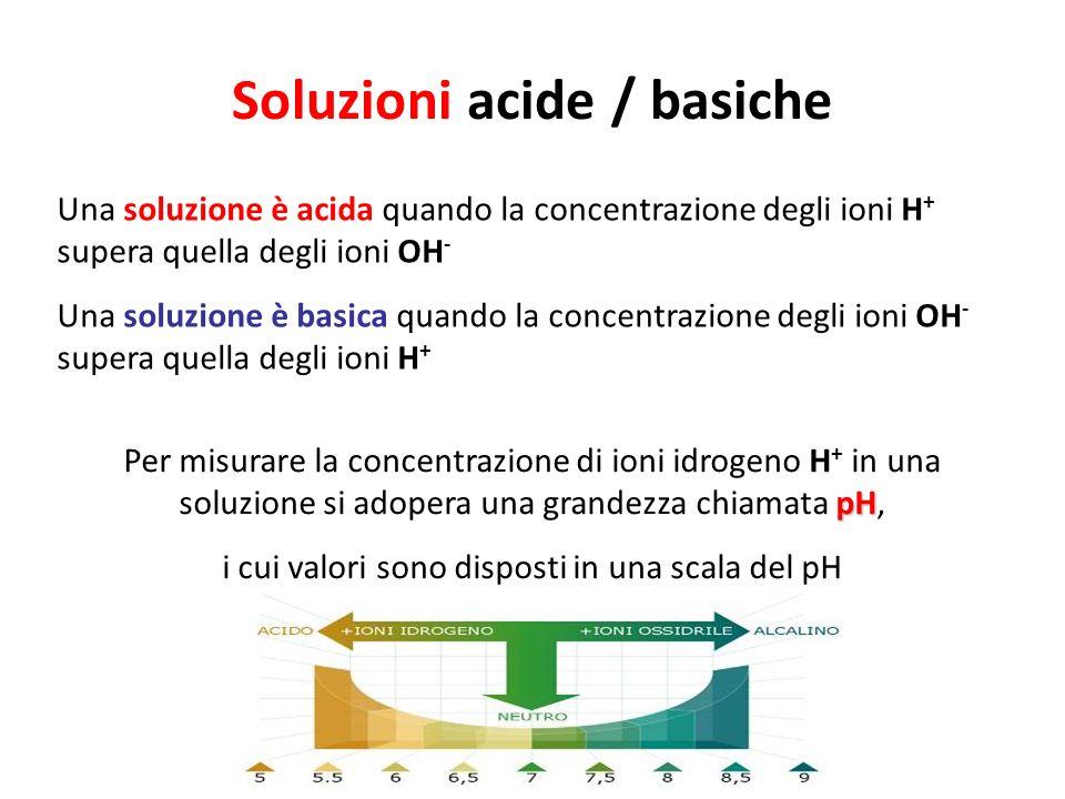 Soluzioni acide / basiche Una soluzione è acida quando la concentrazione degli ioni H + supera quella degli ioni OH - Una soluzione è basica quando la