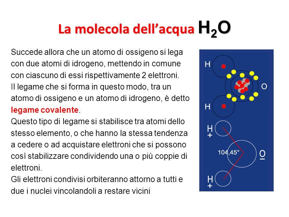 La molecola dellacqua H 2 O Succede allora che un atomo di ossigeno si lega con due atomi di idrogeno, mettendo in comune con ciascuno di essi rispett