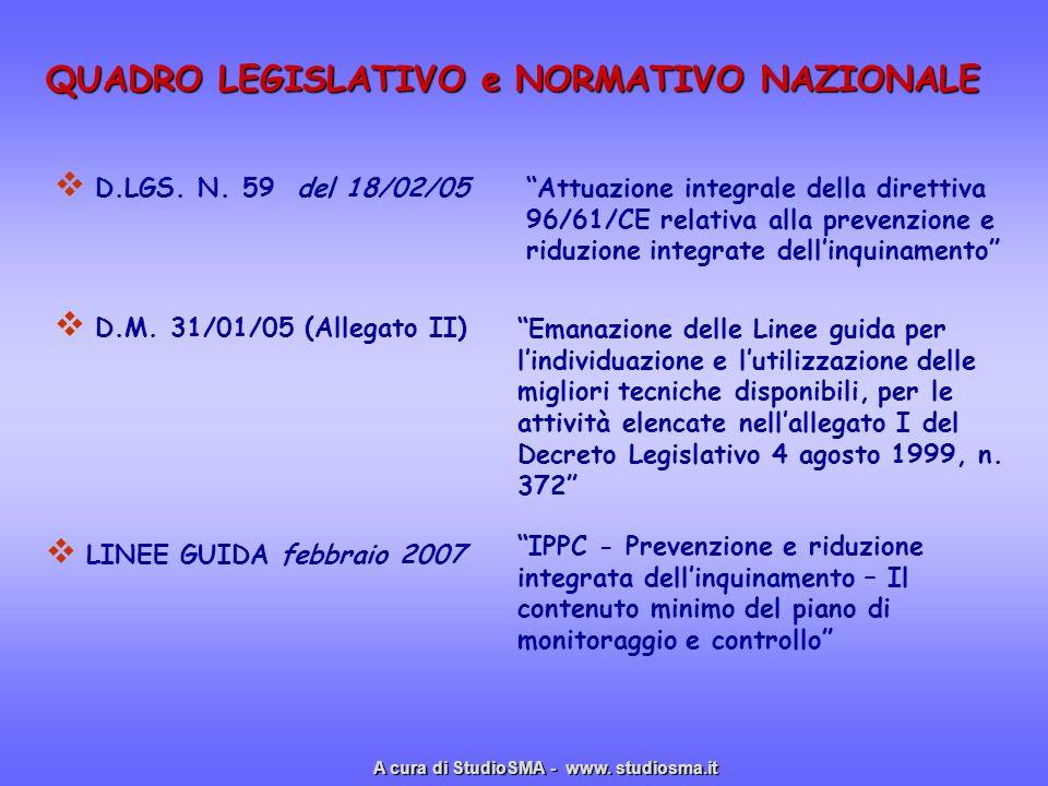 QUADRO LEGISLATIVO e NORMATIVO NAZIONALE D.LGS. N. 59 del 18/02/05 Attuazione integrale della direttiva 96/61/CE relativa alla prevenzione e riduzione