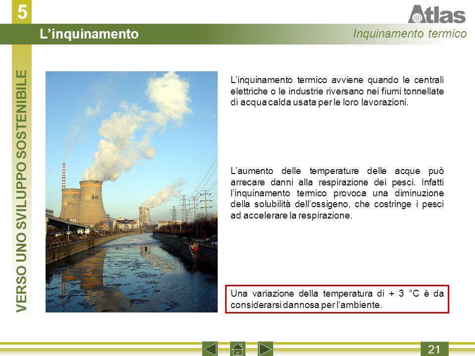 5 21 Linquinamento termico avviene quando le centrali elettriche o le industrie riversano nei fiumi tonnellate di acqua calda usata per le loro lavorazioni.