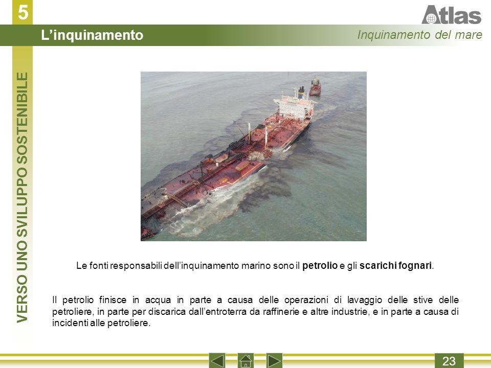 5 23 Le fonti responsabili dellinquinamento marino sono il petrolio e gli scarichi fognari.