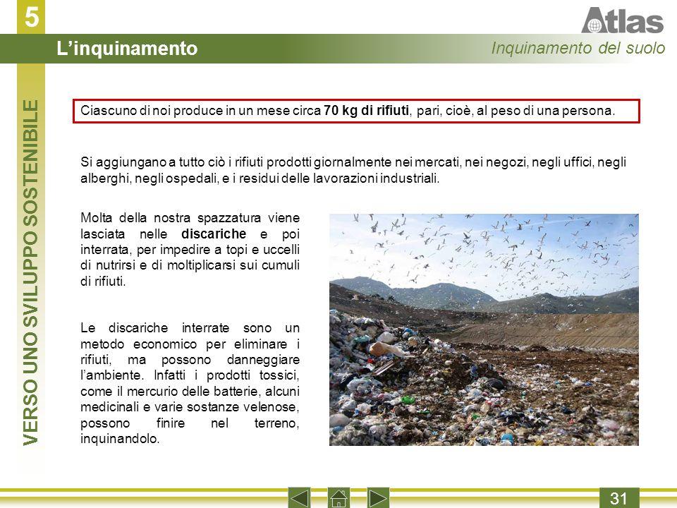 5 31 Ciascuno di noi produce in un mese circa 70 kg di rifiuti, pari, cioè, al peso di una persona.