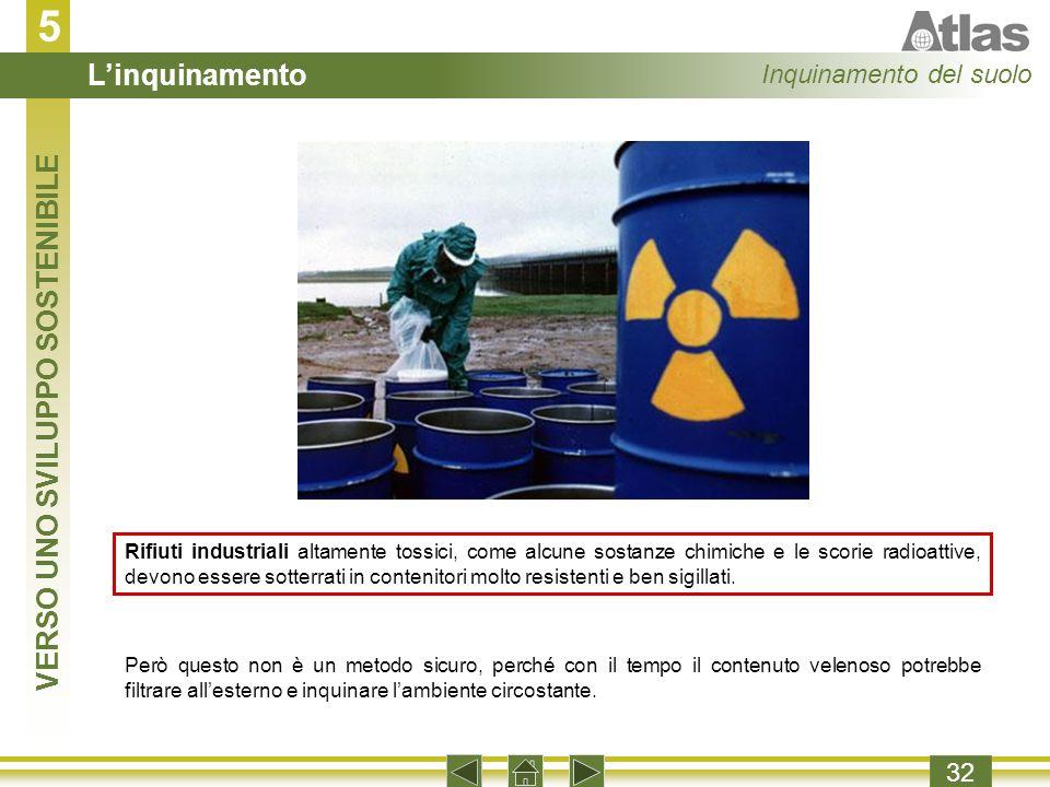 5 32 Rifiuti industriali altamente tossici, come alcune sostanze chimiche e le scorie radioattive, devono essere sotterrati in contenitori molto resistenti e ben sigillati.