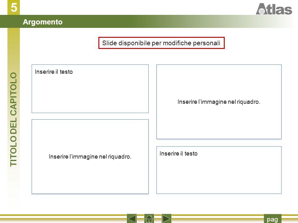 Slide disponibile per modifiche personali Inserire il testo Inserire limmagine nel riquadro.