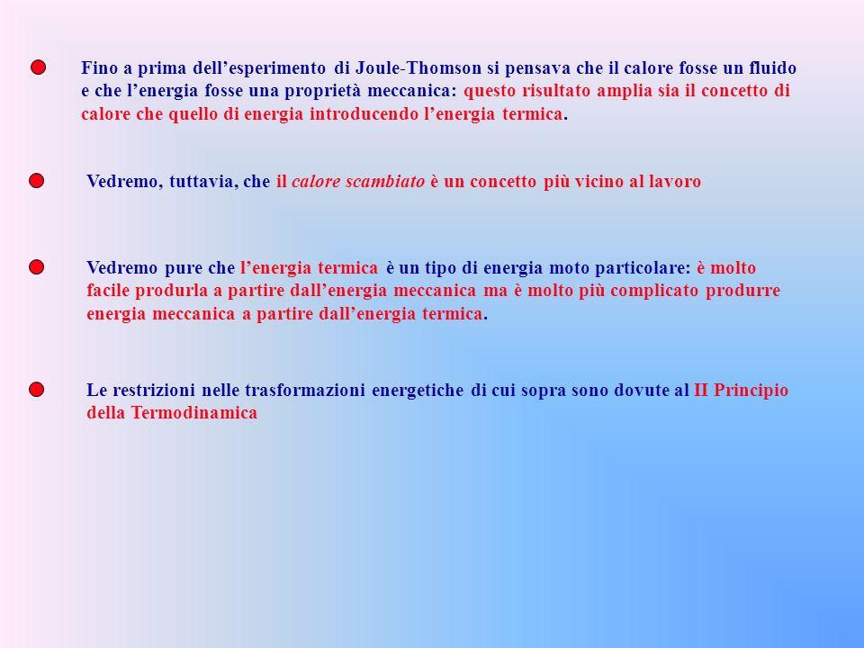 Fino a prima dellesperimento di Joule-Thomson si pensava che il calore fosse un fluido e che lenergia fosse una proprietà meccanica: questo risultato amplia sia il concetto di calore che quello di energia introducendo lenergia termica.