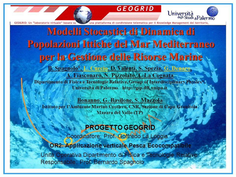 PROGETTO GEOGRID Coordinatore: Prof. Goffredo La Loggia OR2: Applicazione verticale Pesca Ecocompatibile Unità Operativa Dipartimento di Fisica e Tecn