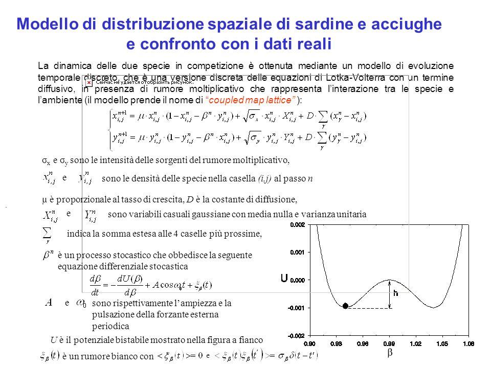 Modello di distribuzione spaziale di sardine e acciughe e confronto con i dati reali La dinamica delle due specie in competizione è ottenuta mediante