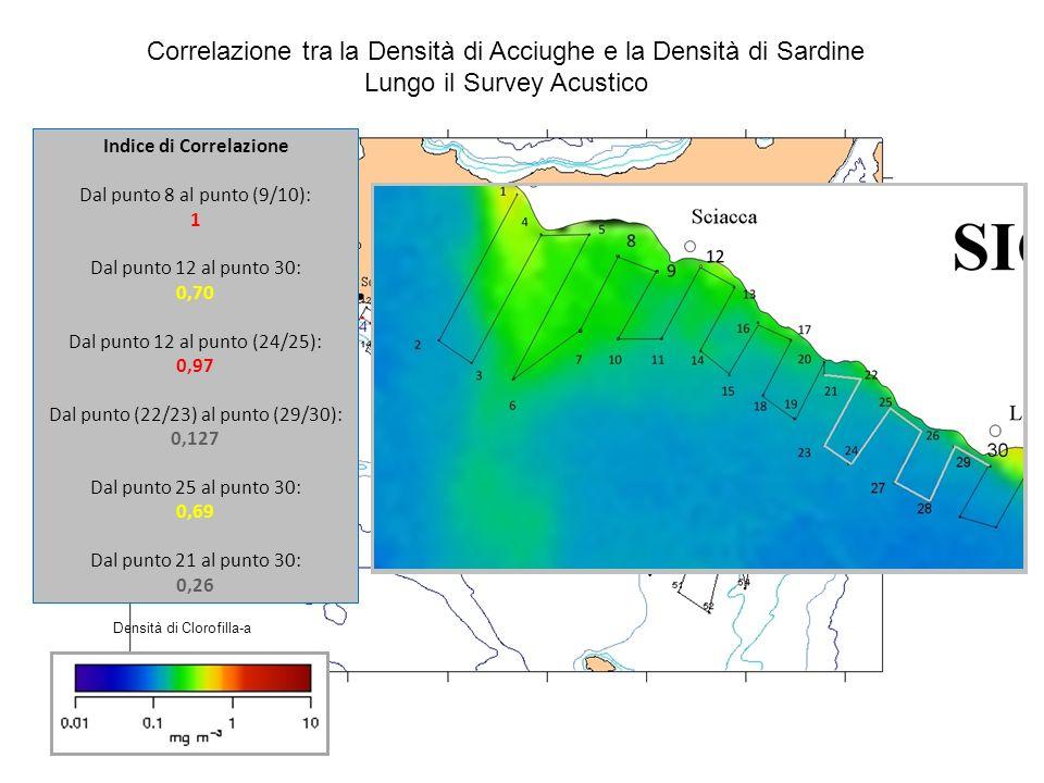 Correlazione tra la Densità di Acciughe e la Densità di Sardine Lungo il Survey Acustico Indice di Correlazione Dal punto 8 al punto (9/10): 1 Dal pun