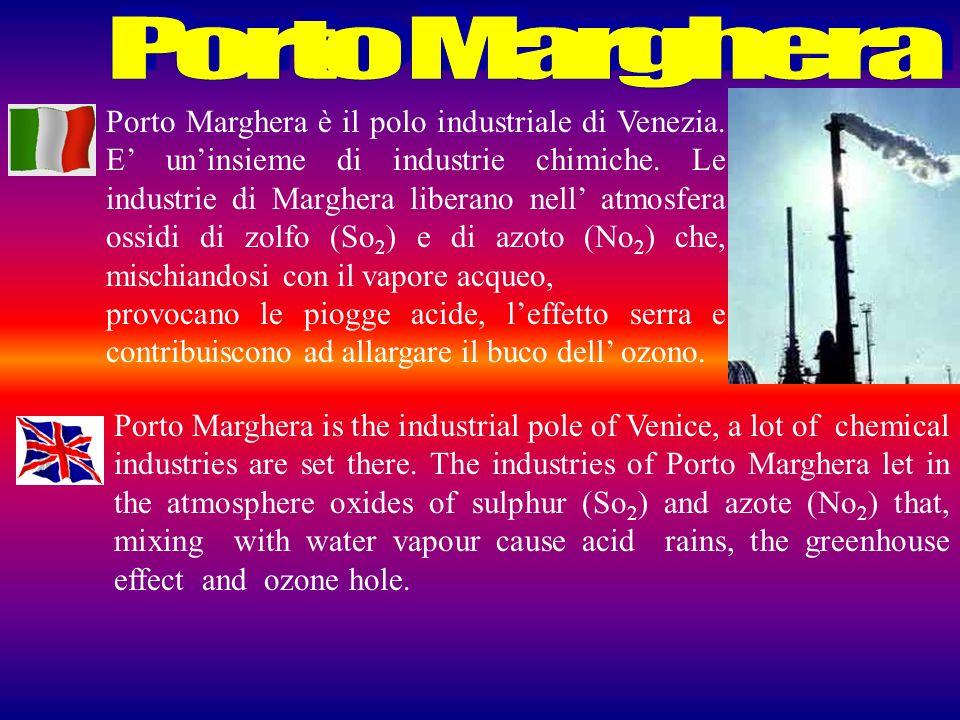 Porto Marghera è il polo industriale di Venezia. E uninsieme di industrie chimiche. Le industrie di Marghera liberano nell atmosfera ossidi di zolfo (