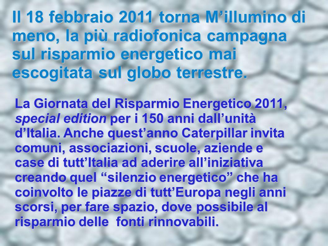 Il 18 febbraio 2011 torna Millumino di meno, la più radiofonica campagna sul risparmio energetico mai escogitata sul globo terrestre. La Giornata del