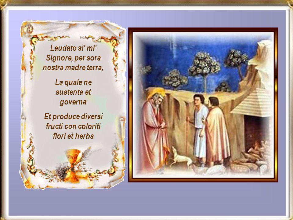 Laudato si mi Signore, per sora nostra madre terra, La quale ne sustenta et governa Et produce diversi fructi con coloriti flori et herba