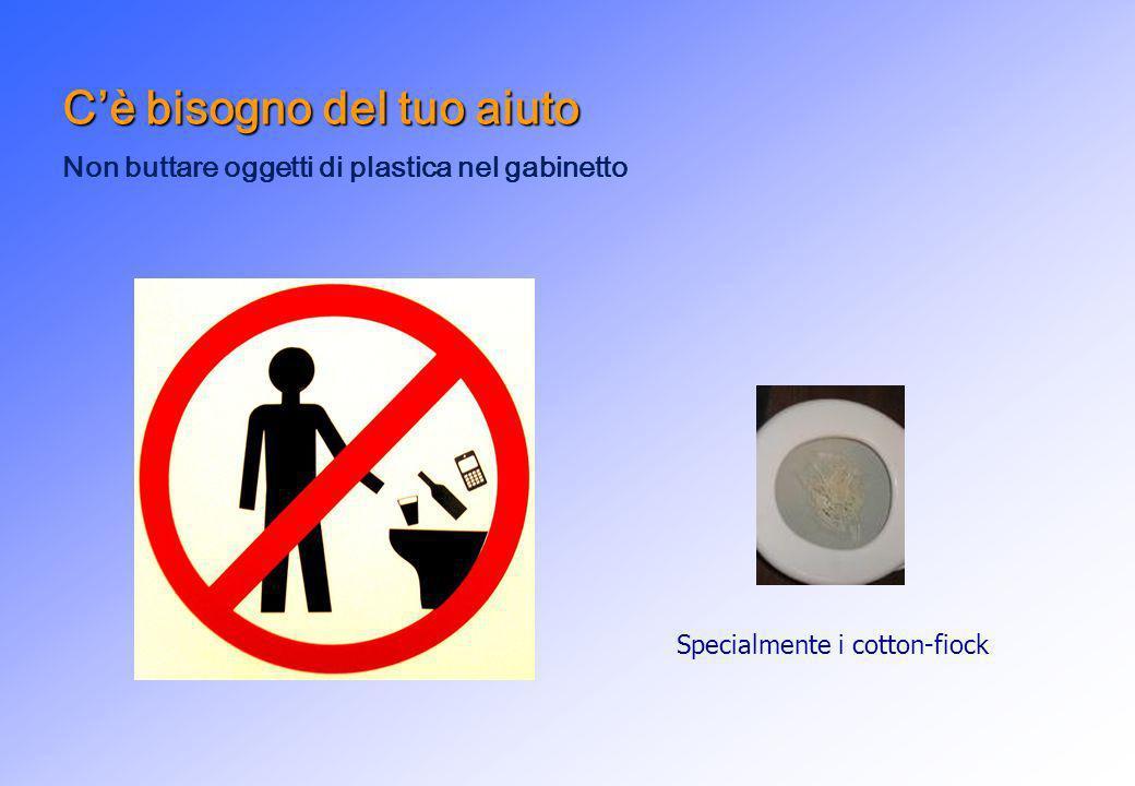 Cè bisogno del tuo aiuto Non buttare oggetti di plastica nel gabinetto Specialmente i cotton-fiock
