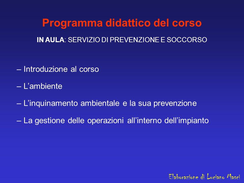 Programma didattico del corso IN AULA: SERVIZIO DI PREVENZIONE E SOCCORSO – Introduzione al corso – Lambiente – Linquinamento ambientale e la sua prev