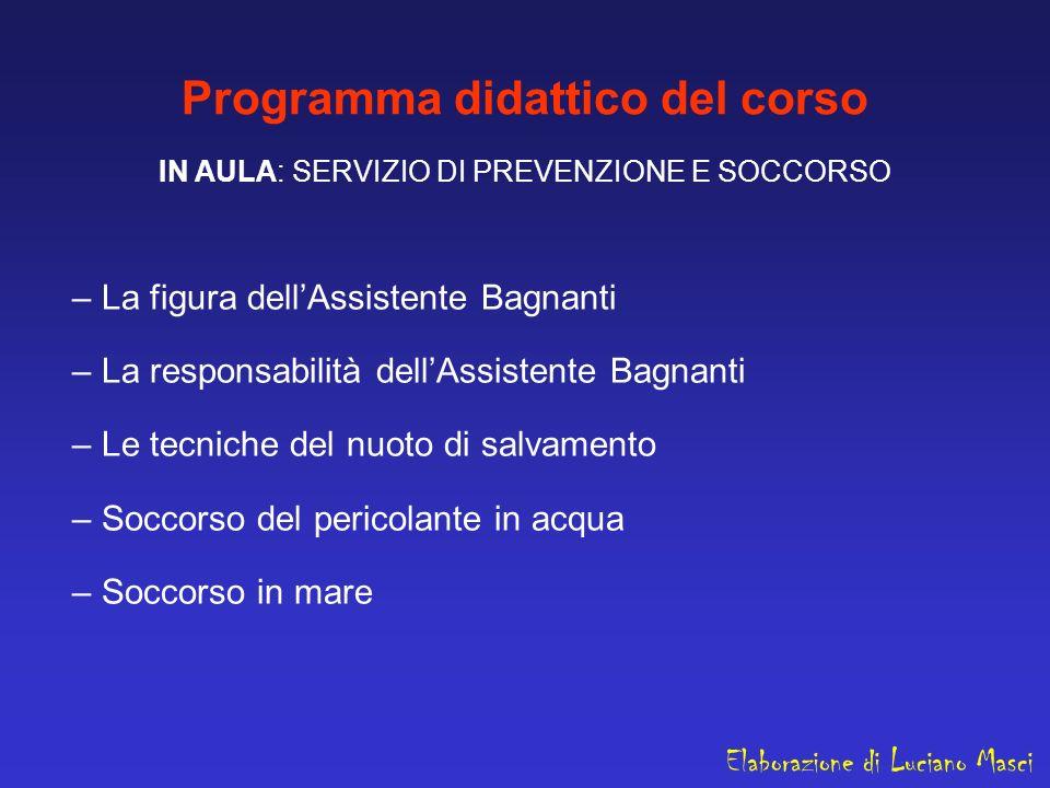Programma didattico del corso IN AULA: SERVIZIO DI PREVENZIONE E SOCCORSO – La figura dellAssistente Bagnanti – La responsabilità dellAssistente Bagna