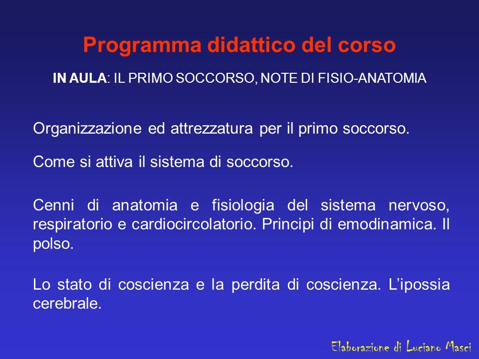 Programma didattico del corso IN AULA: IL PRIMO SOCCORSO, NOTE DI FISIO-ANATOMIA Organizzazione ed attrezzatura per il primo soccorso. Come si attiva