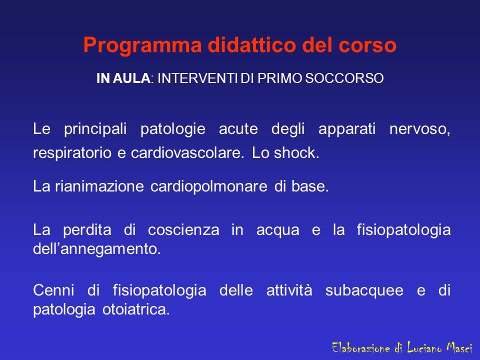 Programma didattico del corso IN AULA: INTERVENTI DI PRIMO SOCCORSO Le principali patologie acute degli apparati nervoso, respiratorio e cardiovascola